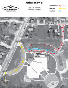 Jefferson PK-8 Student Drop Off and Pickup Map