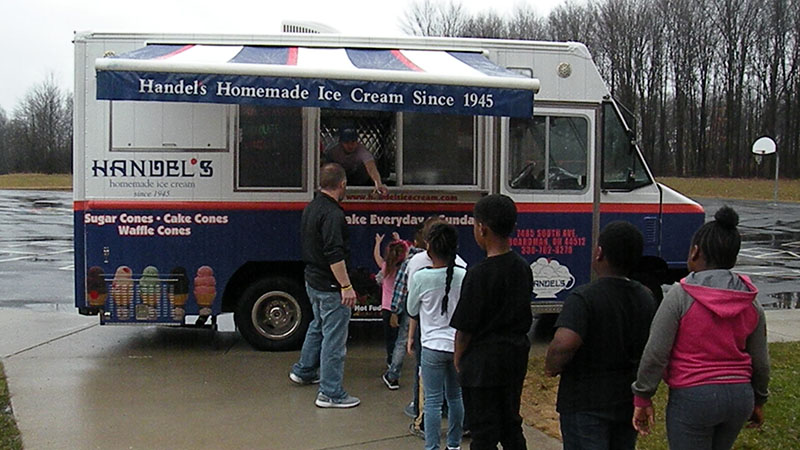 students wait in line for their Handel's ice cream.