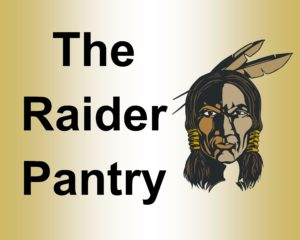The Raider Pantry sign in Black, gold, and white.