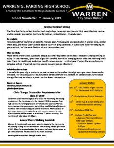 Warren G. Harding High School's January Newsletter. Click to view.