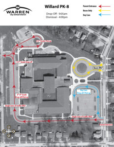 Willard PK-8 Student Drop Off and Pickup Map