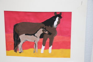Painter picture of horse with calf