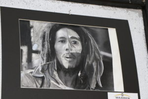 Black and White Drawing of Bob Marley
