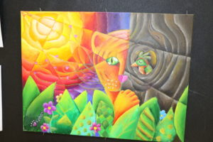 Colorful drawing of lion in bush